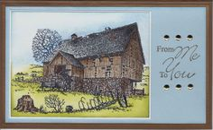 RUBBER STAMP Kitty Lane Country Farm Barn wagon card making scrapbooking tree