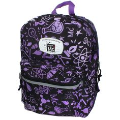 Project Mc2 composition cutie backpack. Features a padded back and straps and a double zipper for convenience. <br><br>The Project MC2 Composition Cutie Violet 16 inch Backpack Features:<br><ul><li>Measures 16 inch height x 12.5 inch width x 5.5 inch depth</li><br><li>Padded Straps and Back</li></ul>