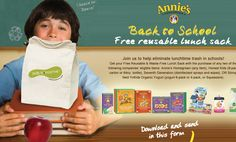 Get a free Kids Konserve lunch sack from Annie's with two proofs of purchase!  http://www.annies.com/backtoschool