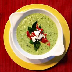 Cold cucumber soup. Perfect for hot summer dinners. Find the recipe on Basil and Oil.