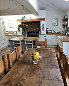 Rustic chunky farmhouse wood plank beam dining table Rustic chunky farmhouse wood plank beam dining table Always aspired to discover how to knit, although not sure the place. Cottage Kitchens, Farmhouse Kitchen Decor, Home Decor Kitchen, Country Kitchen, Kitchen Interior, New Kitchen, Home Kitchens, Kitchen Dining, Dining Table