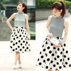 Choies Polka Dots Midi Skirt, Choies Clock Face Clutch Bag, Murua Stripes Cropped Top
