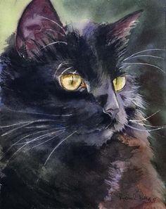 PRINT Watercolor Painting Black Cat Art Alert Custom Decor Gift Portrait artwork in Art, Direct from the Artist, Other Art from the Artist   eBay