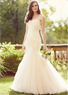 Glamorous Tulle Sweetheart Neckline Natural Waistline Mermaid Wedding Dress