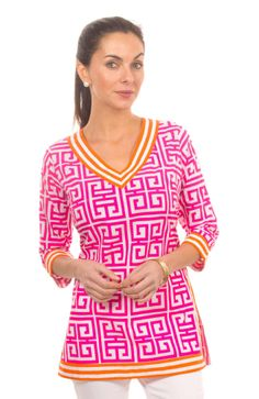 Classic V Neck Tunic Mandarin-(looks cute and comfy!)