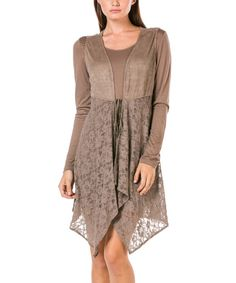 Look at this Brown Lace Cardigan & Long-Sleeve Tunic Inset on #zulily today!