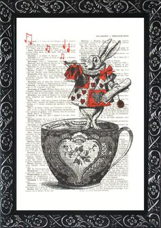 Art Alice in wonderland print red nursery print on an vintage french dictionary page, dictionary Alice in wonderland Mixed media print (360