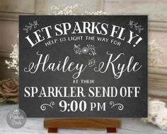 Having a Sparkler Send-Off on your big day? This beautiful personalized sign is the perfect addition to your sparklers table! This is a digital printable design; no physical product will be shipped. HOW TO ORDER: 1. Choose the size you plan to print from the drop down menu. 2. Add only ONE (1) to your cart. 3. In the Notes box at checkout, enter your personalization info in the format shown in the sample. No additional customization is included. If extra customization is needed, please…