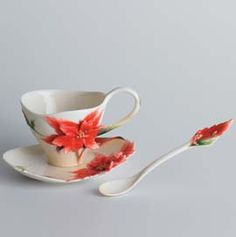 franz poinsettia cup and saucer