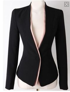 Black Long Sleeve Single Button Slim Blazer , High Quality Guarantee with Low… Mode Outfits, Office Outfits, Casual Outfits, Blazer Outfits, Elegantes Outfit, Jackett, Work Wardrobe, Business Attire, Office Fashion