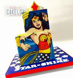 This Fabulous Wonder Woman Cake is a Two Tier Square Paneled Wonder Woman Cake. Wonder Woman Birthday Cake, Wonder Woman Cake, Wonder Woman Party, Birthday Woman, Girl Superhero Cake, Superhero Birthday Cake, Birthday Cakes For Women, Superhero Party, Fancy Cakes