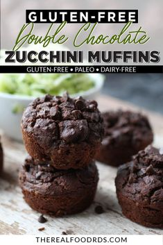 Gluten-free Double Chocolate Zucchini Muffins are the best zucchini muffin recipe. Each bite is oh, so delicious and the added chocolate chips on top make for a decadent snack or breakfast. || The Real Food Dietitians ||