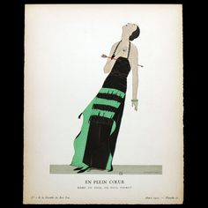 Gazette du Bon Ton - En Plein Coeur, robe du soir de Paul Poiret, planche d'André Marty (n°2, 1922)