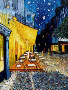 cafe terrace at night - by Vincent Van Gogh.  I have this in a print that I had framed and matted years ago.