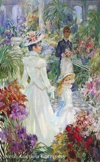 The conservatory in spring by Frederic John LLoyd Strevens