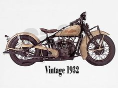 vintage Scout motorcycle, by Indian.  1932