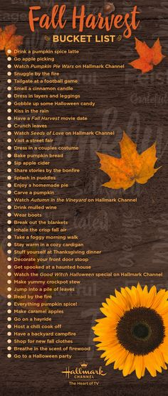 Celebrate fall with Hallmark Channel! Use this bucket list to make the most of autumn with your family and friends. Share your photos using #MyFallPicks