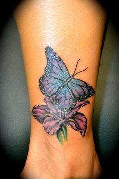 Butterfly On Flower Tattoo On Ankle