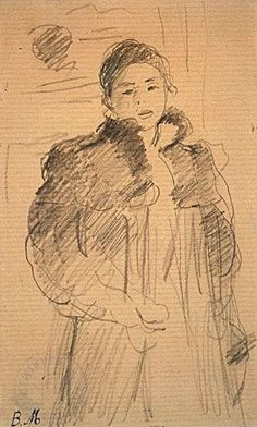 Morisot enjoyed a life of privilege and culture in France, where she studied with Camille Pissarro and her brother-in-law Édouard Manet and was included in seven of the eight Impressionist group exhibitions Gouache, Art Sketches, Art Drawings, Berthe Morisot, Portraits, Portrait Paintings, Figure Sketching, Edouard Manet, Camille Pissarro