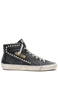 Slide Sneaker Golden Goose Collections #affiliatelink Golden Sneakers, Cowhide Leather, Black Leather, Women Slides, What's In Your Bag, Casual Street Style, Golden Goose, Designing Women, Studs