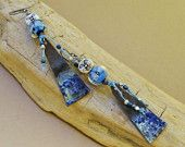 Luna earrings - Bohemian, Dangle, Artisan, Blue, Silver