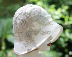 Ivory Lace 1920's Cloche Hat Vintage Style Wedding by GailsHats
