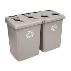 Rubbermaid Commercial 1792374 Glutton Recycling Station, 4-Stream, 92-Gallon, Beige >>> Be sure to check out this awesome product.