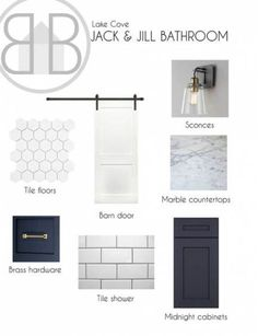 White on White Colorway Option: Bathroom mood board, interior design, subway tile, navy cabinets, barn door Bathroom Sconces, Boho Bathroom, Bathroom Doors, Master Bathroom, Bathroom Ideas, Navy Bathroom, Bathroom Inspo, Bathroom Cabinets, Mood Board Interior