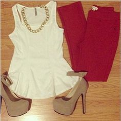 Peplum Shirt. Red Pants. Gold Chain Necklace. Tan Suede Pumps.