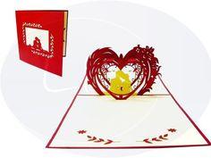 Unsere Hochzeitskarte mit Paar im Herz. Mehr entdecken auf: www.lin-popupkarten.de