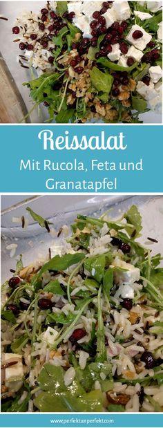 Reissalat, Rucola, Granatapfel, Walnüsse, Herbst, schnell, einfach, Feta, Wildreis, Rezept, lecker, Dressing, fruchtig, kalorienarm