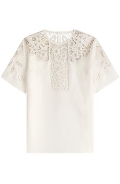 Embroidered with a pretty, feminine pattern, this Valentino t-shirt is made weightless and airy in linen. The boxy silhouette adds contemporary ease #Stylebop