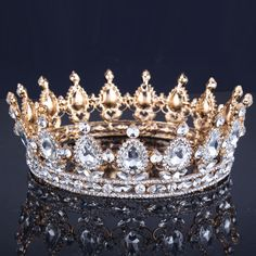 Luxury Vantage Gold Wedding Crown Alloy Bridal Tiara Baroque Queen King Crown 18K gold plated rhinestone tiara crown-in Hair Jewelry from Jewelry on Aliexpress.com | Alibaba Group