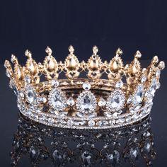 Oro de lujo de La Vendimia Aleación De La Corona de La Boda Tiara Nupcial de la Reina Barroca Rey Corona chapados en oro rhinestone tiara de la corona