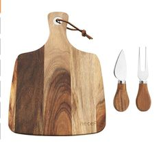 Wooden cheese board and serving accessories