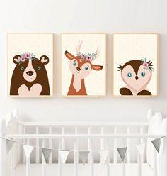 Babaszoba falikép, dekoráció, print, grafika - virágos állatok; medve, szarvas, bagoly - 3db A4-es (kkreabeaa) - Meska.hu