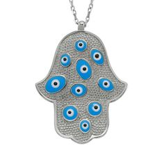 Silver Hamsa Necklace, Blue Evil Eye Necklace,   925 Sterling Silver Filled , CZ stones by Evil Eye Gems (Evil Eye Jewelry)