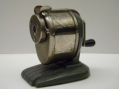 Pencil sharpener. Manual. :: had one of these in our basement growing up.