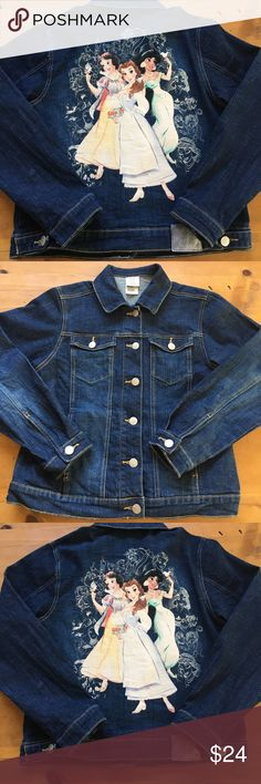 ☘️Disney Store Studio Jean Jacket-Princesses Excellent condition size small Disney buttons silver hardware 23 inches long  18 1/2 inch bust buttons up the front silver buttons with Disney D's. Super cute  Disney Jackets & Coats Jean Jackets