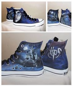 Converse and Harry Potter. A combo of my two fav things. Harry Potter Converse, Harry Potter Mode, Harry Potter Shoes, Harry Potter Style, Harry Potter Outfits, Harry Potter World, Painted Converse, Painted Shoes, Converse All Star