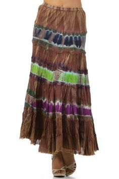 100 percent Cotton 1S/1M/1L Per Pack Multi This HIGH QUALITY skirt is VERY CUTE!! Made from a very soft and comfy fabric, this adorable tie dye maxi skirt with an elastic waistband is hand washable, and fits true to size.