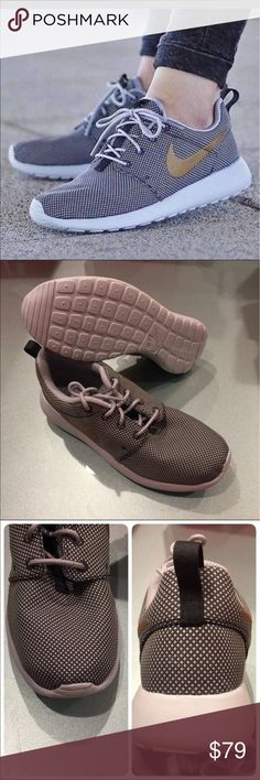 🐣New🐣 NIKE women's Roshe One ~ size 6.5 brand new no lid size 6.5 anthracite/metallic gold/wolf grey comes from smoke free home 100% authentic A1700043 Nike Shoes Athletic Shoes