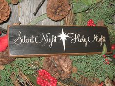 """Primitive Holiday Wooden Sign Christmas """" Silent Night Holy Night """" Hand Painted Christmas Rustic Housewares on Etsy, $10.95"""