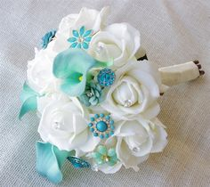 Royal Crown Natural Touch Off-White Roses & Teal Turquoise Jewels Bouquet