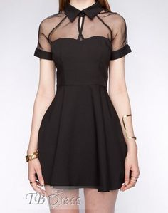 Elegant Lapel Short Sleeves Chiffon Dress