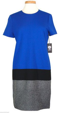 Vince Camuto Womens Dress Colorblock Shift Tweed Knit Black Blue Sz 8 NEW $175 #VinceCamuto #Shift #Casual