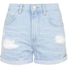 TOPSHOP MOTO Bright Blue Ripped Rosa Shorts