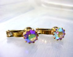 Earrings Vintage Rhinestone Clip Gold Retro Christmas Mothers Day Wedding Faux Diamond Canadian Shop Made in Austria