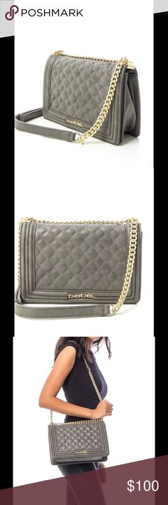 ⚜️COMING SOON⚜️Quilted Chain-Strap Shoulder Bag Authentic slate colored chain strap shoulder bag by, Bebe; can be worn as a cross body. Made in China. Man made materials. Product code: BG304-SLATE. BUNDLE 3+ items for 25% OFF! bebe Bags Shoulder Bags