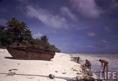 """American servicemen searching the shoreline near a rusted Alligator LVT on Tarawa during WWII."""